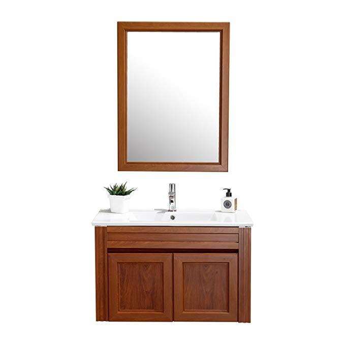 ENZORODI Một gỗ hồng mộc màu 80 cm treo tường nhôm kết hợp tủ phòng tắm 60 cm treo gương ERV58863Y-W