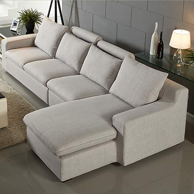 Nội Thất căn hộ : Bộ ghế sofa cao cấp hình chữ L với thiết kế hiện đại .