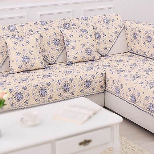 Mùa xuân hoa mùa hè lanh sofa đệm bông và vải lanh sofa bìa trượt sofa đệm khăn bốn mùa phổ 90x90cm