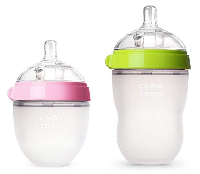 Bình Sữa cho bé bằng nhựa dẻo Hiệu COMOTOMO - 2 chai  (xanh / hồng, 5 oz / 8 oz)