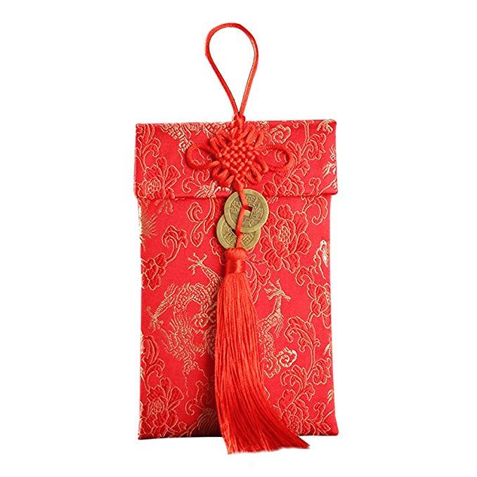 Túi đeo thổ cẩm đỏ hình rồng phụng Tonsilk