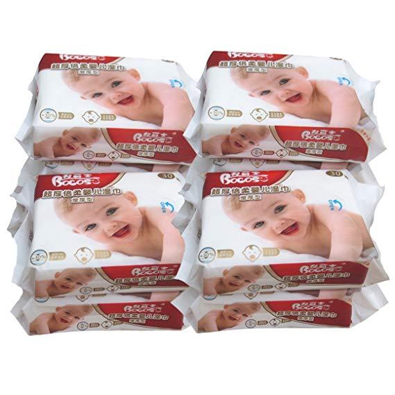 BOCOSO bé sơ sinh lau 10 gói (30 máy bơm / gói) con bé túi xách tay khăn lau tay di động (10 gói)