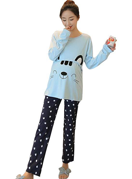 Rungoo phong cách màu xanh phim hoạt hình thời trang phụ nữ mang thai của quần áo đồ ngủ cotton mùa