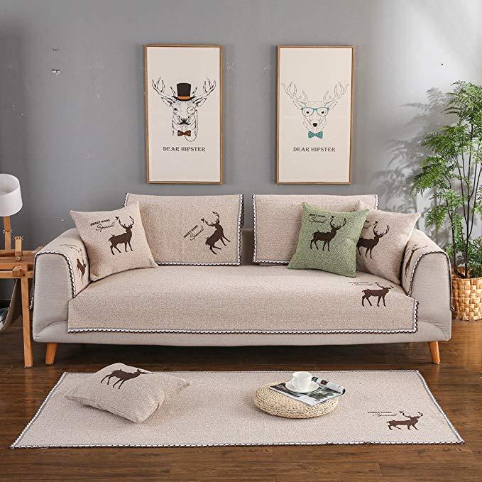 S-EMIGA Shangmeijia bông và vải lanh đệm sofa Cotton non-slip đệm sofa Đơn Giản sofa khăn bao gồm (k