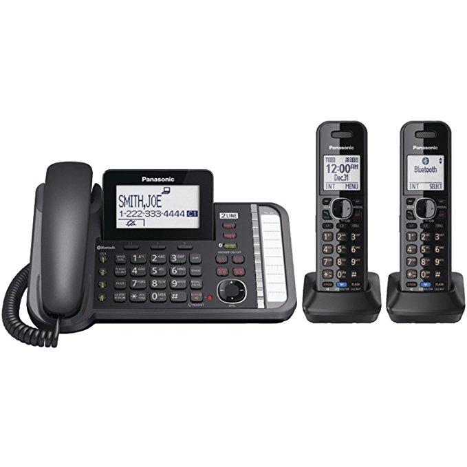 Panasonic kx-tg9581b link2cell dect 6.0 1-thiết bị cầm tay điện thoại không dây kỹ thuật số 3 dòng