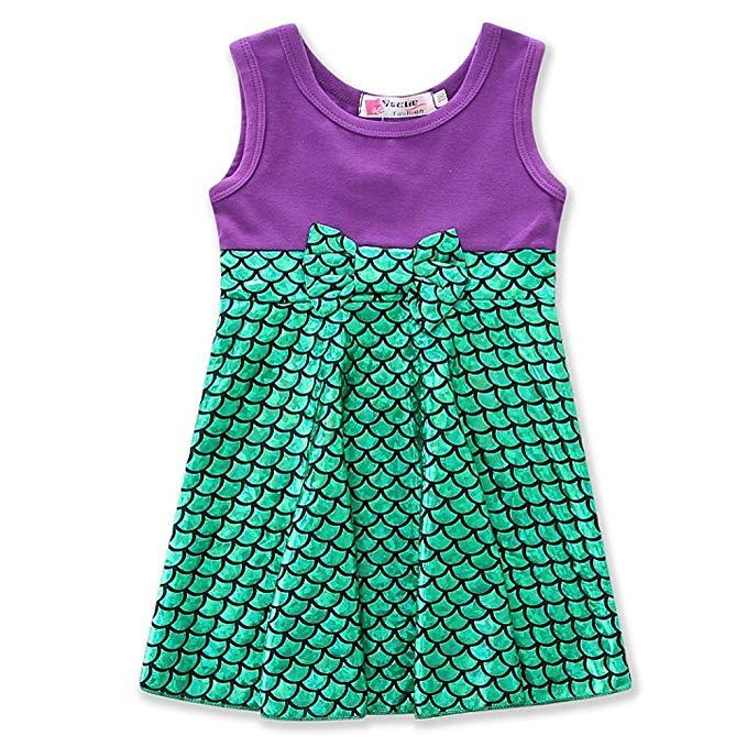 Áo thun tím ngắn tay và váy xanh hình vảy cá Samgami baby