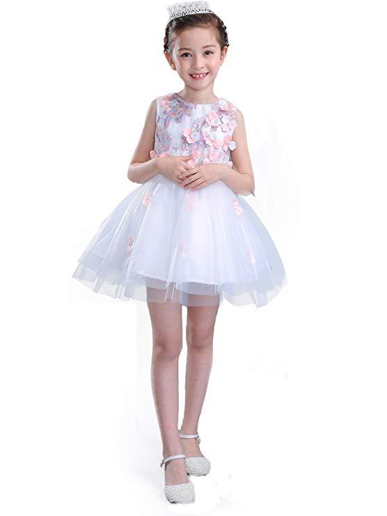 Váy hoa trẻ em màu trắng vải ren Finesdear