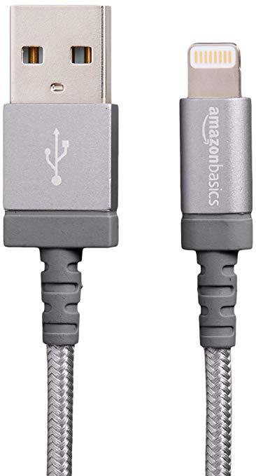 AmazonBasics Apple MSI chứng nhận Nylon bện sét tương thích cáp USB Một cáp dữ liệu - Dark Grey (3 f