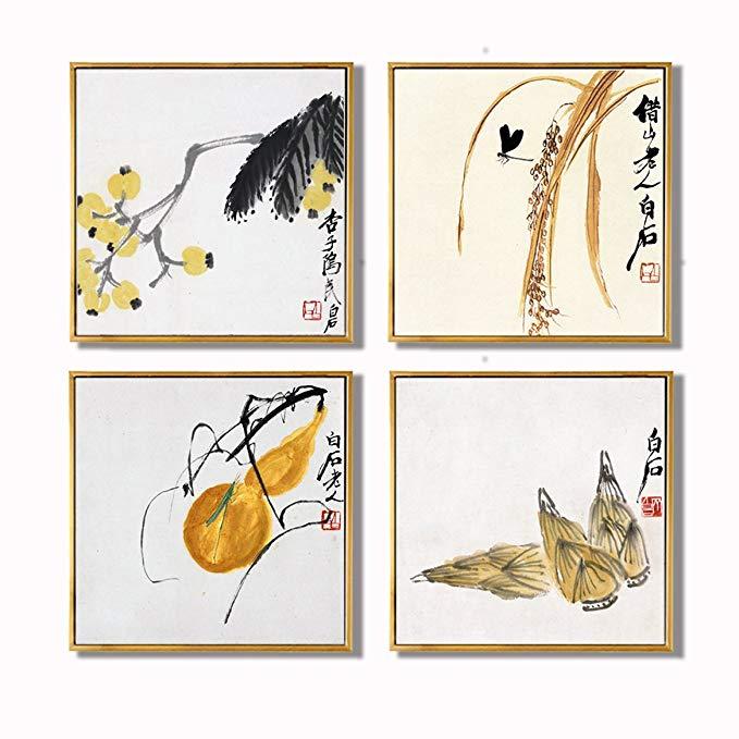 ANKH Chunhua Qiushi Qi Baishi Trung Quốc Mới hiên Trang Trí bức tranh Trung Quốc hội họa (một bộ bốn
