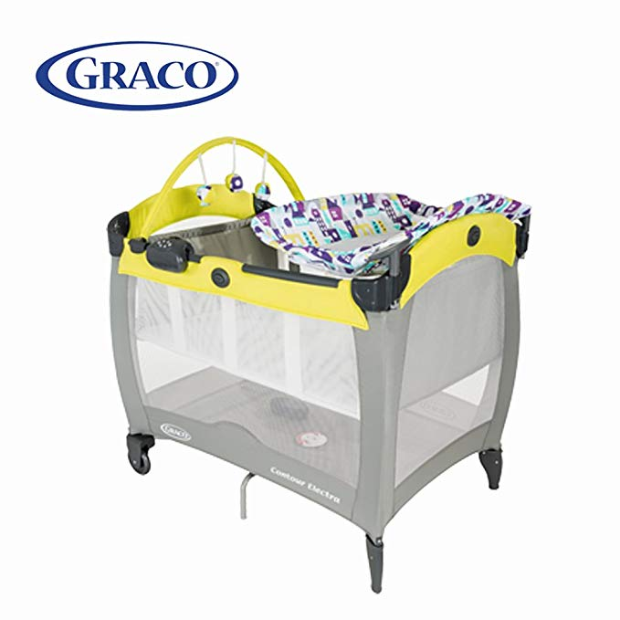 Giường trẻ em đa năng GRACO Giường trẻ em di động với mặt dây Di động tã thay đổi bảng (màu vàng)