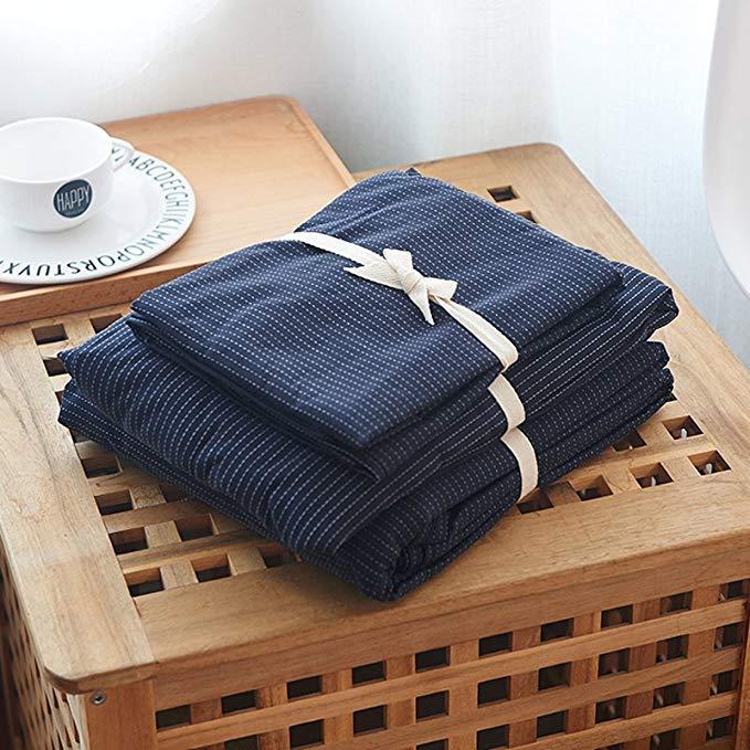 JHLongess - Bộ Drap Giường chất liệu cotton không in bông , dệt thêu kiểu đơn giản tinh tế .