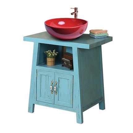 Moyer Địa Trung Hải cổ điển tủ phòng tắm mộc mạc tủ sàn gỗ Rắn tủ phòng tắm rửa lưu vực kết hợp gói