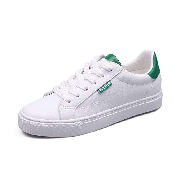 Giày da thể thao màu trắng, đế bệt Beier