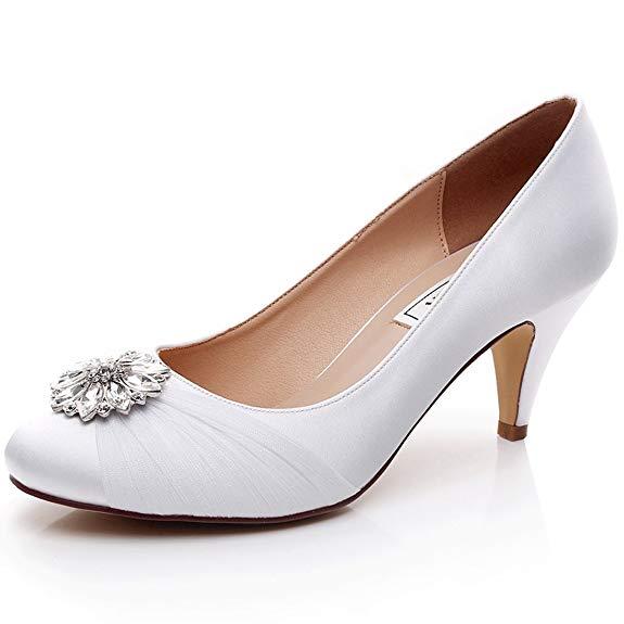 Giày cưới cô dâu cao gót màu trắng tinh LUXVEER