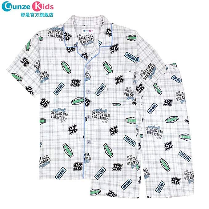 GUNZE Quận là của một cậu bé cotton ngắn tay quần áo sơ mi dịch vụ nhà phù hợp với đồ ngủ SA5512