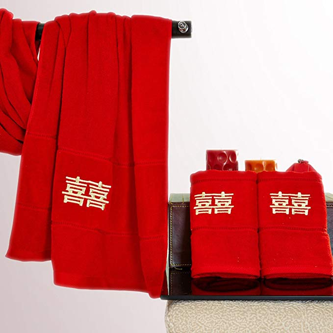 Le cho dệt may nhà SF thư trực tiếp cotton đám cưới lễ hội khăn khăn tắm đặt sợi bông cắt nhung thêu