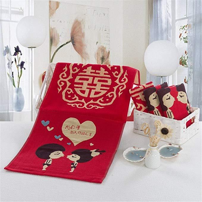 Muyun Trang Chủ Dệt May Dahongxiong Cotton Khăn Set Wedding Khăn Hai Gói Cotton Hai Túi Quà Tặng