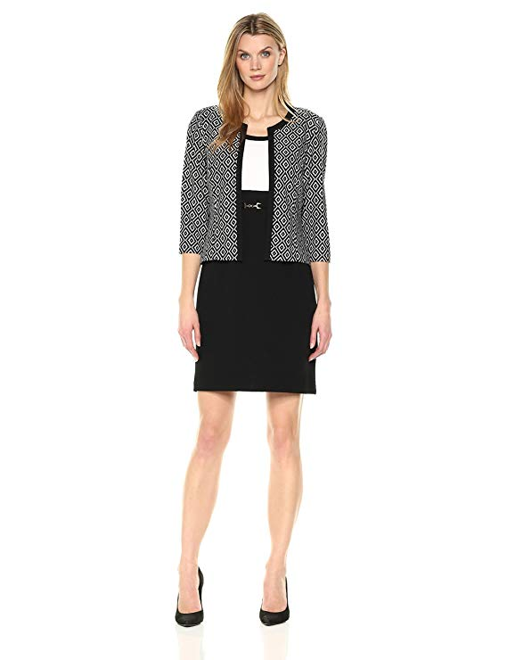 Áo khoác nữ ngắn tay họa tiết hình vuông Sandra Darren