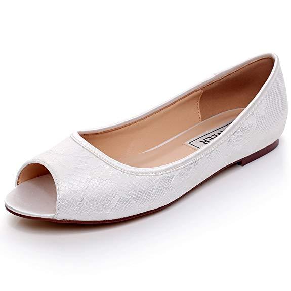 Giày búp bê cô dâu hở ngón màu trắng LUXVEER RS-9803