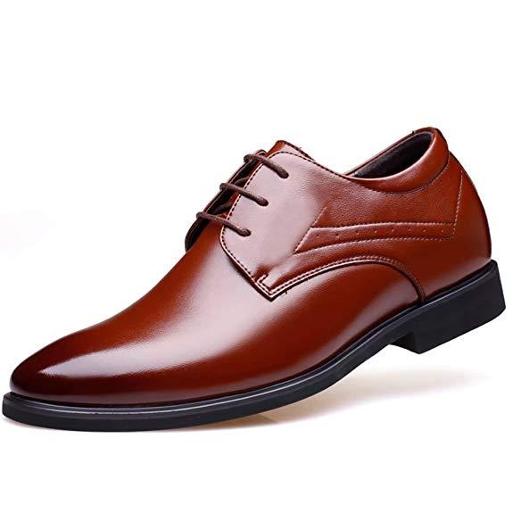 Giày da nam tăng chiều cao màu nâu bóng Virility YY556