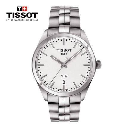 Tissot Tissot Thụy Sĩ chính thức xác thực PR100 loạt tấm màu đen lịch thép với thạch anh xem đồng hồ
