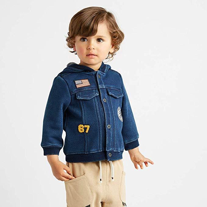 Davebella david bera mùa thu cậu bé mới denim áo khoác bé cộng với nhung áo khoác db8475