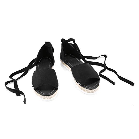 Syktkmx của phụ nữ ren-up sneakers da lộn dây đeo mắt cá chân túi trên tất cả các mùa hè d'orsay ăn