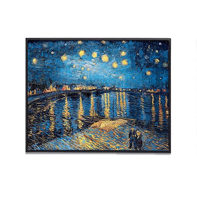 ANKH Van Gogh Starry Night trên sông Rhone Giáng sinh Tóm tắt Tranh sơn dầu cổ điển Tranh trang trí