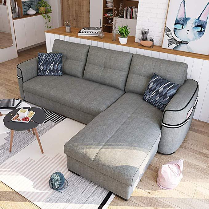 Nội Thất căn hộ : Bộ ghế sofa DZY5002-Z0003006 hai mảnh màu xám nhạt phía trước