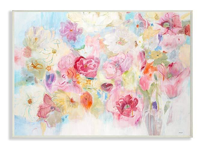 Stupell trang trí nội thất màu bouquet tường trim panel nghệ thuật, 25.4x127x38.1 cm, made in the US