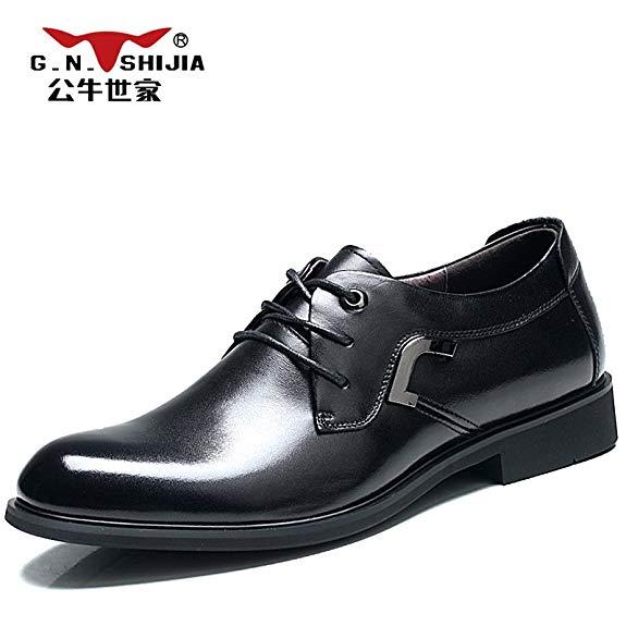 Giày tây nam mũi nhọn chất liệu da đen bóng G.N.SHIJIA Bull