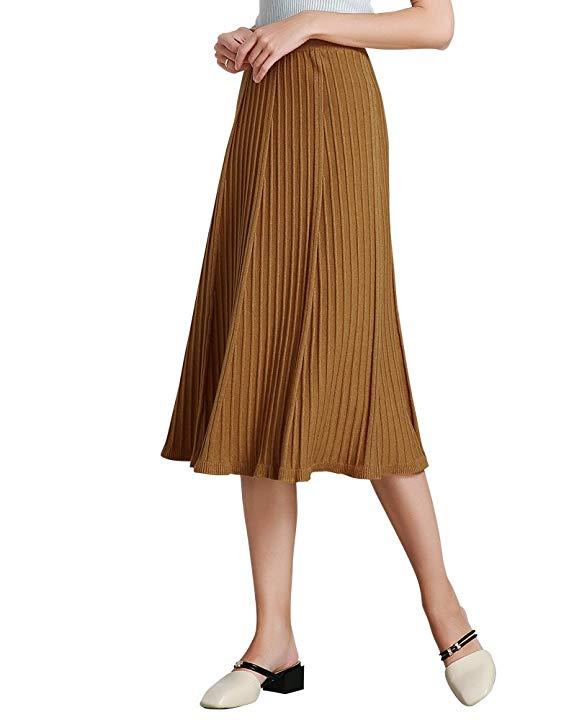 Váy xếp li màu vàng đất kiểu dáng thời trang, hoang dã Onebuye