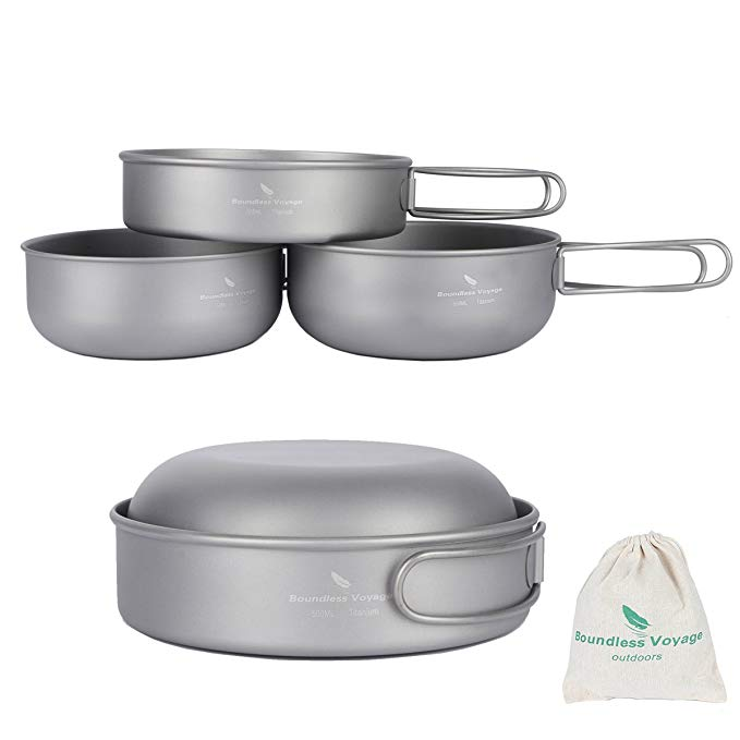 IBasingo 3 piece set titanium bát đặt cắm trại ngoài trời pan đồ nấu nướng nồi với gấp dã ngoại bộ đ