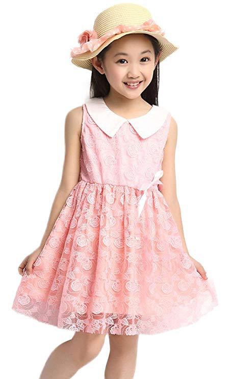 Đầm hoa trẻ em vải ren hồng ngắn tay Meng Kaqi Qimei