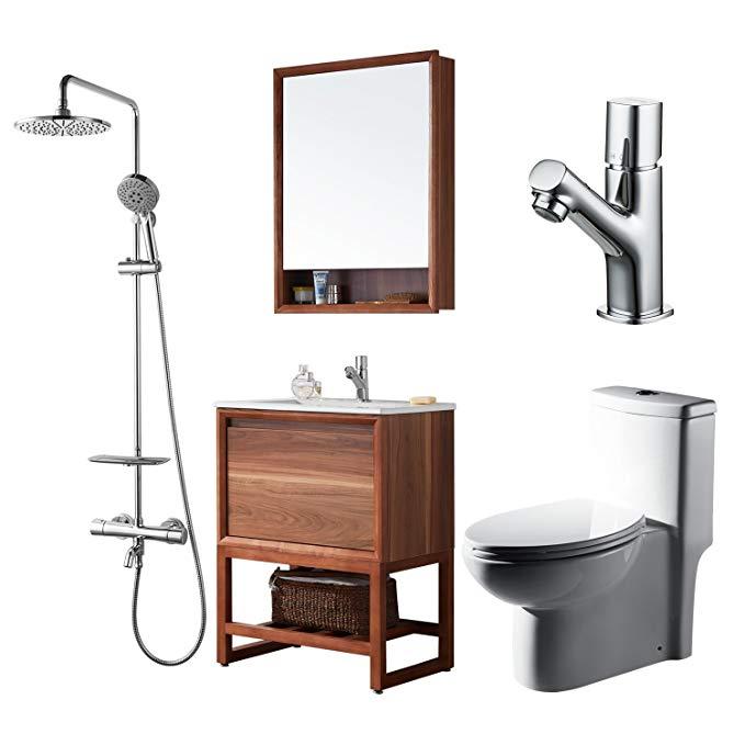Bộ tủ sang trọng cho phòng tắm Nhà vệ sinh Siamwei 305mm + Tủ phòng tắm 800