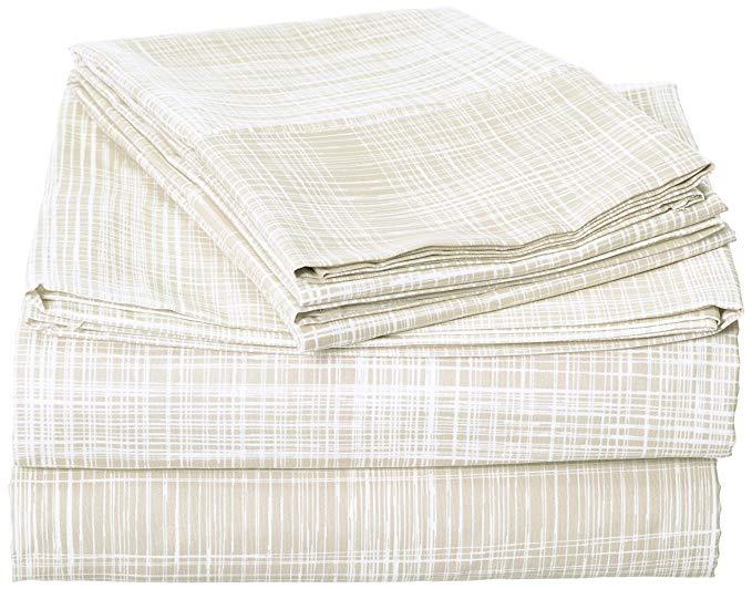 Celine linen sang trọng mượt mềm coziest 1500 kim Ai Cập tấm bộ thatch thiết kế tấm ga trải giường v