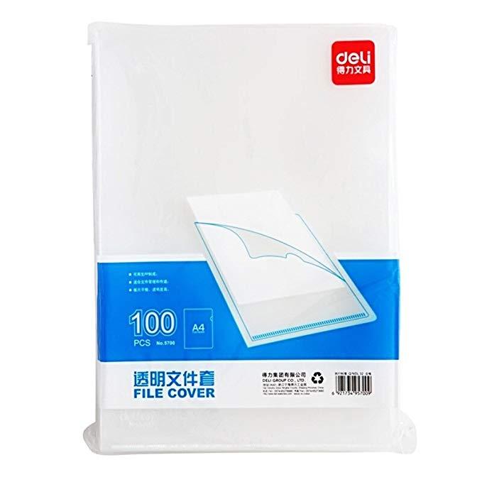Deli 5700-A4 , Bìa Đựng Tập Tin trong suốt ,  siêu kinh tế , 100 cái.