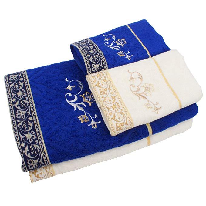 COVATOR sợi gỗ hoa cổ điển vài đám cưới 2 khăn tắm 2 mặt khăn bộ
