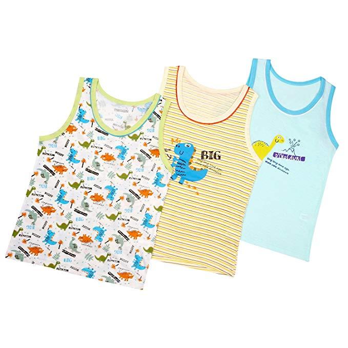 Booph boy vest top 3 không tay áo bé toddler phim hoạt hình khủng long in áo cho bé trai 1-7 năm
