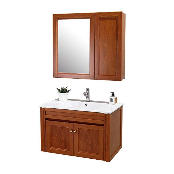 Bộ Tủ phòng tắm treo tường nhôm kết hợp tủ phòng tắm 80 cm tủ gương ERV58863Y-W1