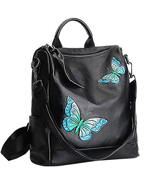 Túi xách đen thêu bướm Man Xiwei