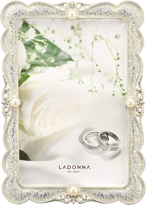 Khung ảnh cưới kim loại trắng đính đá Ladonna
