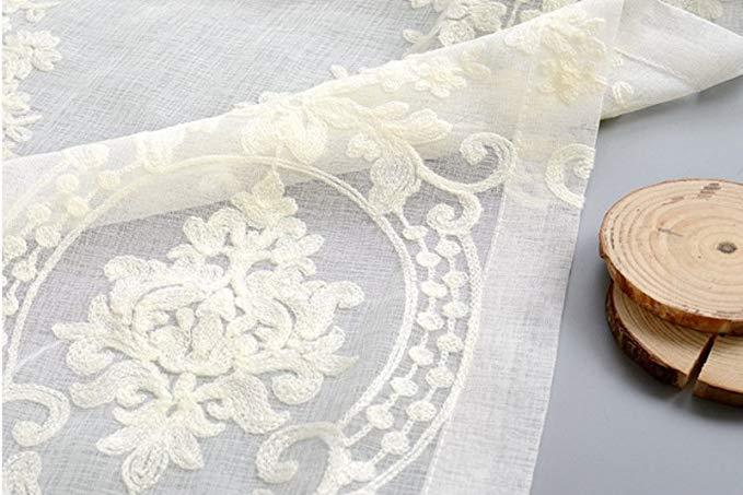 Jiarui thêu châu Âu sợi trắng rèm sợi giải phóng mặt bằng cao cấp thêu cửa sổ gạc thành sợi rèm ban