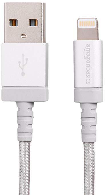 AmazonBasics Apple MSI chứng nhận Nylon bện sét tương thích cáp USB Một cáp dữ liệu - Bạc (6 ft / 1,