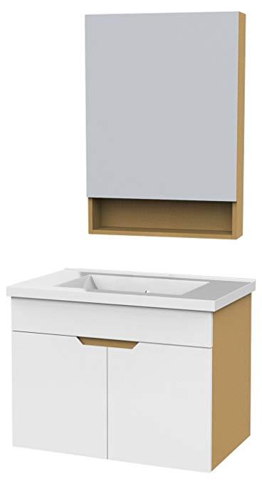 Bộ nội thất phòng tắm bằng gỗ cứng (có tủ gương) rộng 700mm (không có vòi)