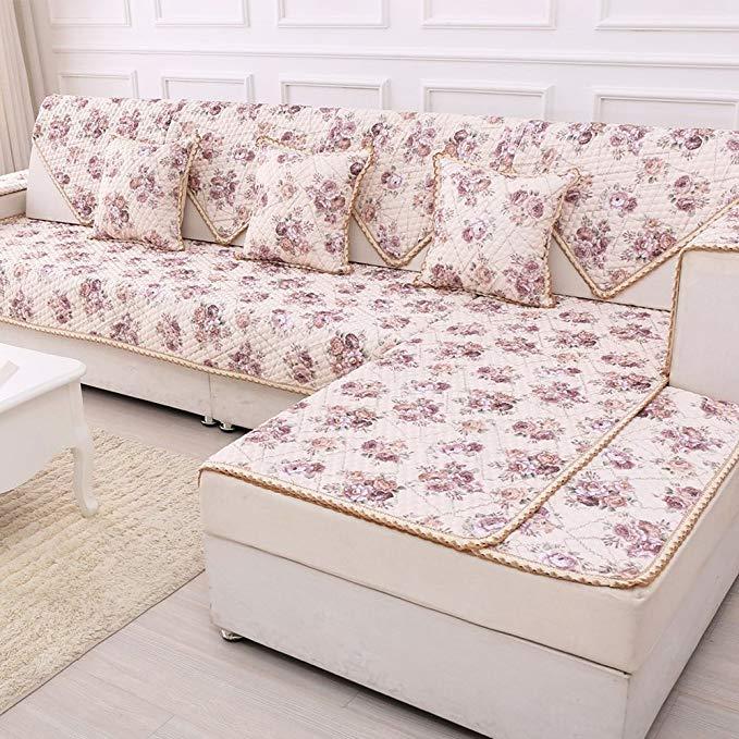 Mùa xuân hoa mùa hè linen sofa đệm cotton linen sofa bìa non-slip sofa đệm khăn bốn mùa phổ 90X90 cm