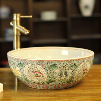 Bồn rửa Mặt bằng gốm sứ Thiết kế hoa văn Trung Quốc  .