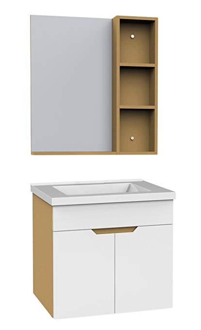 Bộ nội thất phòng tắm bằng gỗ cứng (có tủ phụ) rộng 600mm (không có vòi) ERV5263