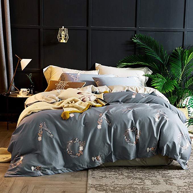 J.H.Longess satin in bông bốn mảnh 60S dài-staple bông 1,8 m giường 1.8 m giường quilt cover sheet b