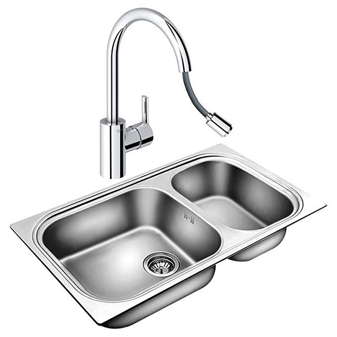 Vật dụng cho Nhà bếp : bồn rửa chén Rãnh Đôi kết hợp vòi nước .